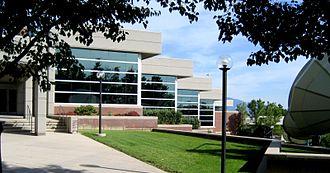 Eccles Broadcast Center - Northwest exterior of the Eccles Broadcast Center