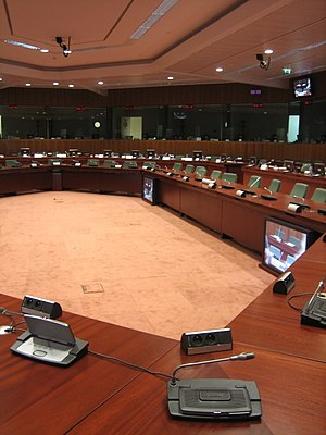 Council of the European Union - Until 2017, the main meeting room of the Council was in the Justus Lipsius building in Brussels, seen here.