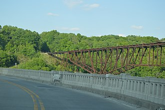 Louisville Southern Railroad - The Tyrone Bridge, by which the LS crossed the Kentucky River
