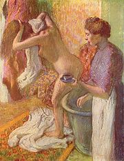 In the 1880s Edgar Degas, drew a number of pastel studies of women bathing.