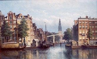 Gerard Blasius - Groenburgwal/Staalkade were Blasius lived  with Zuiderkerk at the end. Painting by Eduard Alexander Hilverdink