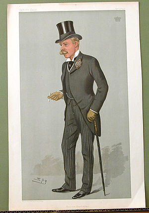 "Edward Villiers, 5th Earl of Clarendon - ""The Lord Chamberlain"". Caricature by Spy published in Vanity Fair in 1901."