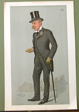 """Edward Villiers, 5th Earl of Clarendon - """"The Lord Chamberlain"""". Caricature by Spy published in Vanity Fair in 1901."""