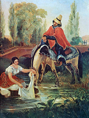 "Washerwoman - ""The Huaso and the Washerwoman"" by Mauricio Rugendas (1835)."