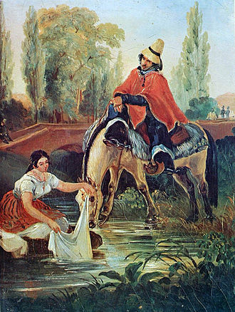 "Huaso - ""The Huaso and the Washerwoman"" by Mauricio Rugendas (1835)."
