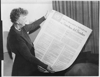 "United States labor law - Eleanor Roosevelt believed the Universal Declaration of Human Rights of 1948 ""may well become the international Magna Carta of all men everywhere."" Based on the President's call for a Second Bill of Rights in 1944, articles 22–24 elevated rights to ""social security"", ""just and favourable conditions of work"", and the ""right to rest and leisure"" to be as important as the ""right to own property""."