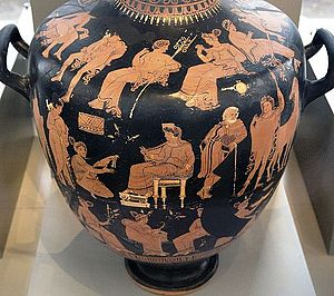 Greco-Roman mysteries - Hydria by the Varrese Painter (c. 340 BC) depicting Eleusinian scenes