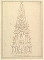 Elevation of a Catafalque- the Central Part Comprised of a Series of Steps to Top; with Statues and Central Cartouche with a Figural Scene- a Figure Kneeling before Virgin and Child (?) MET DP820172.jpg