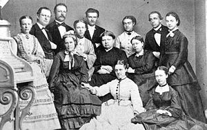 Emanuella Carlbeck - Emanuella Carlbeck, middle row, far right, at a pedagogue meeting in Copenhagen 1872.