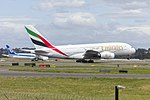 Emirates (A6-EUF) Airbus A380-861 departing Sydney Airport (1).jpg
