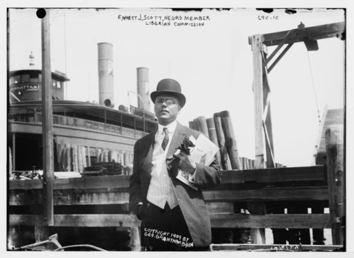 Emmett J. Scott, Negro member of Liberian Commission, at boat dock, New York LCCN2014683293.tif