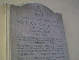 William Carey (missionary) - Engraved plaque in St. James Church, Paulerspury, Northamptonshire, where Carey attended as a boy