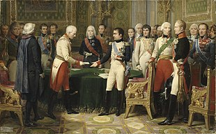L'incontro di Erfurt nel settembre 1808, nell'immagine Napoleone accoglie l'ambasciatore austriaco, si riconoscono, sulla destra, lo zar Alessandro e, al centro, Tallyerand.