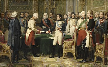Napoleon receives with Alexander (3rd from right) the Austrian ambassador in Erfurt, programmatic history painting by Nicolas Gosse