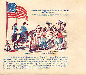 Contraband (American Civil War) - Envelope showing Contrabands (slaves) speaking with Union General Butler.
