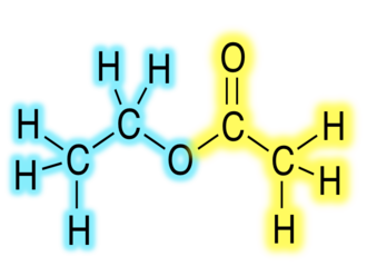 Ester - Ethyl acetate derived from an alcohol (blue) and an acyl group (yellow) derived from a carboxylic acid