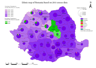 Hungarians in Romania - Map of Romanian counties with notable Hungarian presence (2011 census)