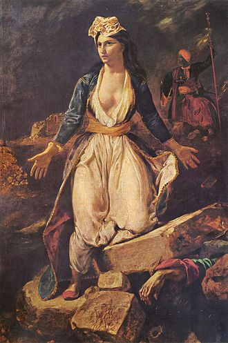 Eugène Delacroix - Greece on the Ruins of Missolonghi (1826), Musée des Beaux-Arts, Bordeaux