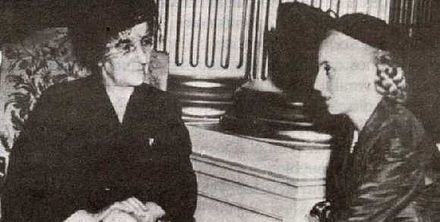 On 9 April 1951, Golda Meir, then Labor Minister of Israel, met with Eva Peron to thank her for the aid the Eva Peron Foundation had given to Israel. Evita y Golda Meir.jpg