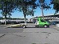 Főkert vehicle transport truck and Iseki CM7226H lawn tractor, 2018 Ferencváros.jpg