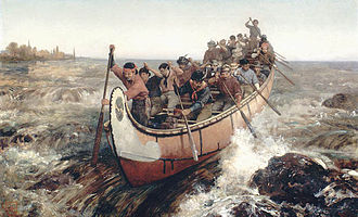 Canoe - Frances Anne Hopkins: Shooting the Rapids (Quebec) (1879), Voyageur canoe.