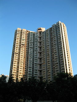 "A block of Wah Ming Estate, a typical ""Y-shaped public estate"", in Fanling, at sunset"