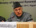 Farooq Abdullah addressing at the presentation ceremony of the Cash Prizes to the best performing Regional Rural Banks and Certificates for extending loans for SPV home lighting systems during 2009-10, in New Delhi.jpg