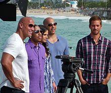 Paul Walker con parte del cast di Fast & Furious 5 (Vin Diesel, Jordana Brewster, Ludacris e Dwayne Johnson) nel 2011