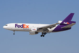 McDonnell Douglas DC-10 - A FedEx Express MD-10-10, a modernized DC-10-10, landing at San Jose International Airport