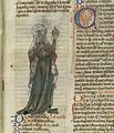 Female healer, ?Trotula, holding urine flask, 14th C Wellcome L0037338.jpg