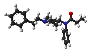 Ball-and-stick model of the fentanyl molecule ...