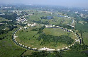 Aerial view of the Tevatron particle accelerator at the Fermilab site.