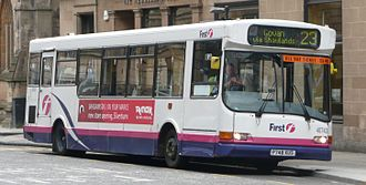 First Glasgow - UVG Urbanstar bodied Dennis Dart SLF in Glasgow in April 2008