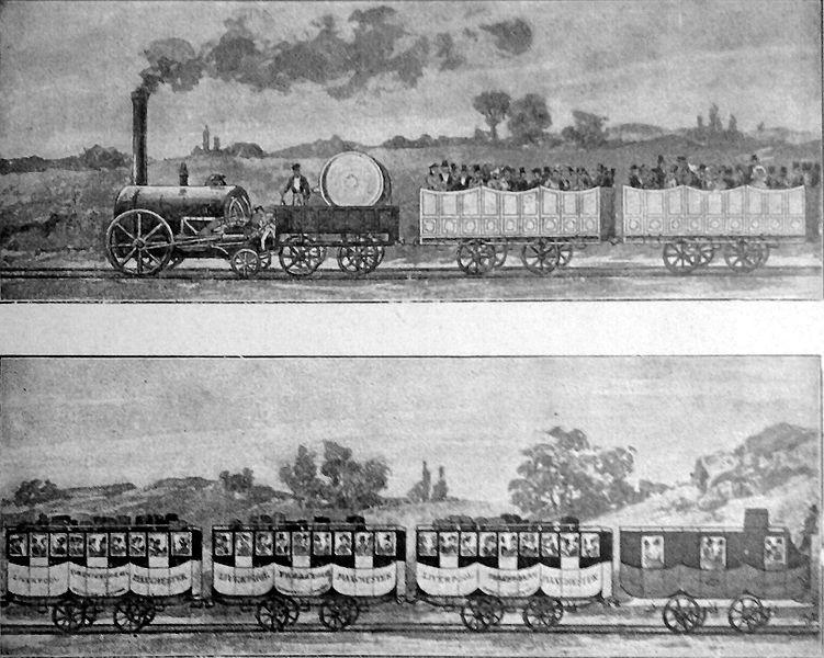 Первый пассажирский поезд на линии Ливерпуль-Манчестер
