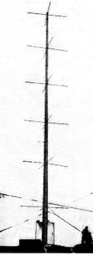 Turnstile antenna - Image: First turnstile antenna W8XH Buffalo NY 1936