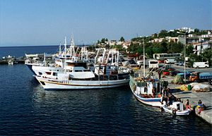 Fishing boats, Samothraki port, Greece.