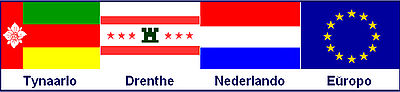 Flag combination of Tynaarlo, Drenthe, the Netherlands and Europe - Esperanto names.jpg
