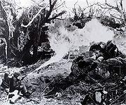 Flamethrower in Tarawa jungle