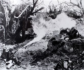 Chemical Corps - The CWS provided support for flame weapons, such as this flame thrower being employed during the Battle of Tarawa, during WWII.