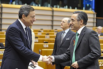 Ramon Tremosa - Ramon Tremosa with Mario Draghi, President of the European Central Bank as elected speaker of the yearly report
