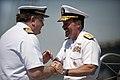 Flickr - Official U.S. Navy Imagery - Cmdr. Juan Escrigas, left, welcomes aboard Rear Adm. Michael C. Manazir..jpg