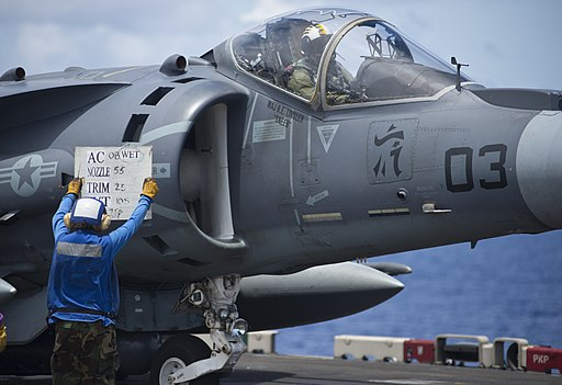 Flickr - Official U.S. Navy Imagery - Sailor assists AV-8B pilot.