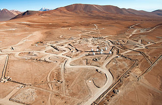 Astronomical interferometer - Aerial view of the ESO/NAOJ/NRAO ALMA construction site.
