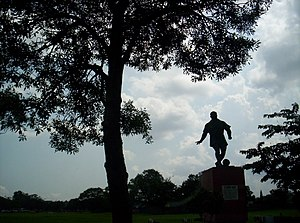 Statue of a football player in Maidan, Kolkata