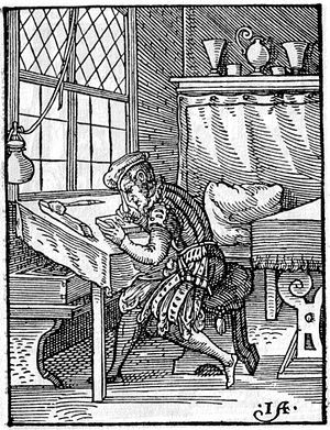 Jost Amman - Formschneider, that is, block-cutter for woodcuts, 1568. From Das Ständebuch, a famous series of woodcuts of the trades by Amman (who would not usually have done his own cutting)
