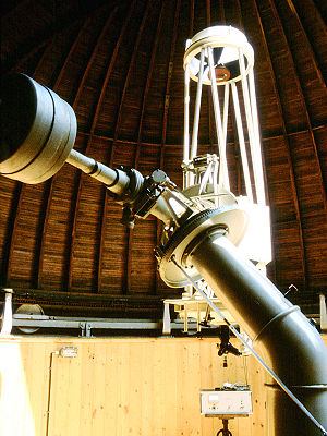 Equatorial mount - A large German equatorial mount on the Forststernwarte Jena 50cm Cassegrain reflector telescope.