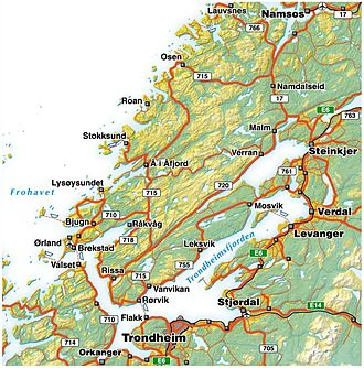 Trondheim Fjord - Map of Trondheim Fjord and the Fosen peninsula.