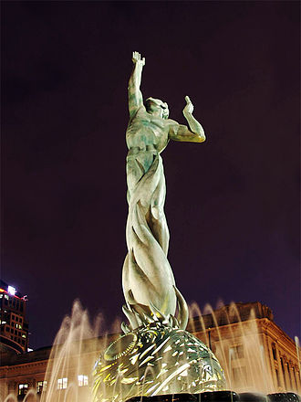 "Immortality - The Fountain of Eternal Life in Cleveland, Ohio is described as symbolizing ""Man rising above death, reaching upward to God and toward Peace."""