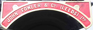 John Fowler & Co. - Fowler nameplate on a Showman's engine