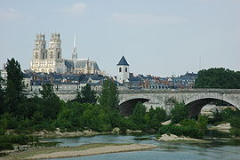 View of Orléans on the Loire with George V Bridge and Orléans Cathedral.